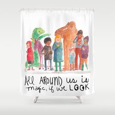 Look up, people! Shower Curtain