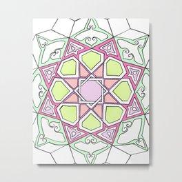 Pink Green Moorish Mandala Metal Print
