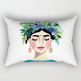 Floral Frida - Blue Rectangular Pillow
