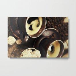 freshly prepared  italian espresso with coffee beans and sugar Metal Print