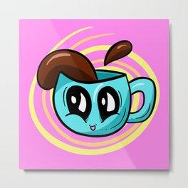 COFFEE TIME! Cute Coffee Cup Illustration Metal Print