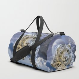 Snow Leopard and Moon Duffle Bag