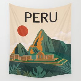 Peru travel poster Wall Tapestry