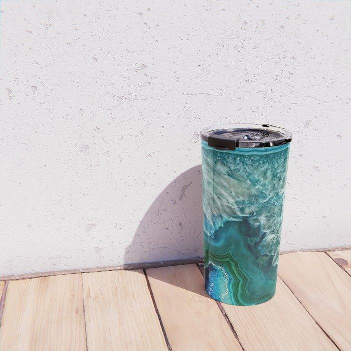 Aqua turquoise agate mineral gem stone Travel Mug