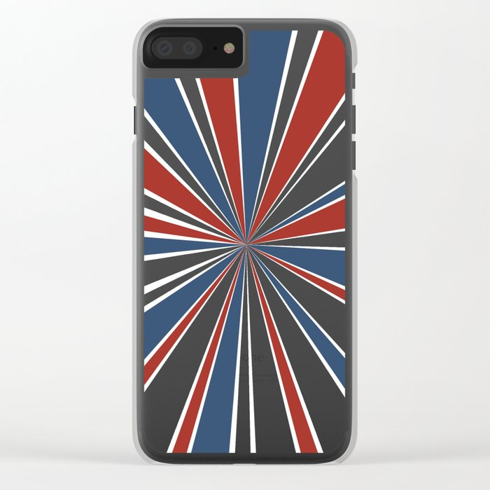 Star Burst Red White and Blue Clear iPhone Case