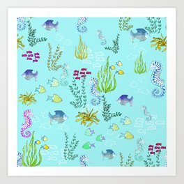 Seahorse Botanical Art Print