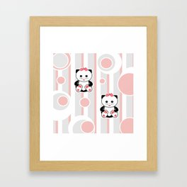 Little kittens. The pattern for children. Framed Art Print