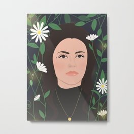 Beautiful lady in a garden of flower / 60s vibes Metal Print