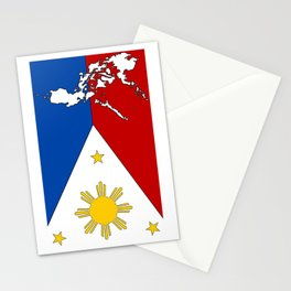 Philippines Flag with Filipino Map Stationery Cards