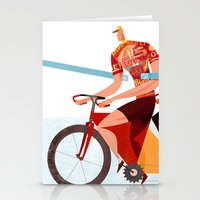 tour de france Stationery Cards featuring Bicycle Tour de France Tandem for Three by Gregory Baldwin