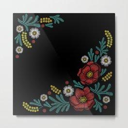 Embroidered Flowers on Black Corner 04 Metal Print