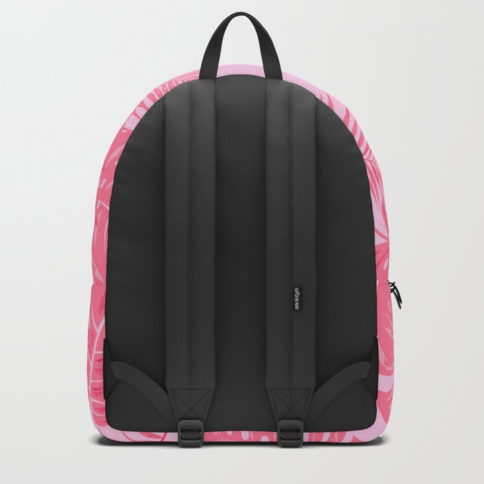 Tropical flamingo pink leaves Backpack