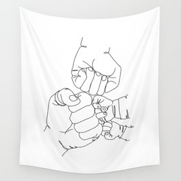 Family Hands Minimal  IV Wall Tapestry
