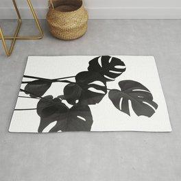 Monstera Leaves Black & White Vibes #1 #minimal #decor #art #society6 Rug