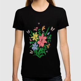 Abstract lilies and butterflies T-shirt