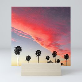 Red Scarlet Sunset Over Palm Trees Mini Art Print