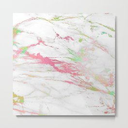 White faux marble colorful veine accents Metal Print