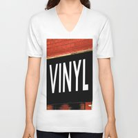 vinyl V-neck T-shirts featuring Vinyl by Biff Rendar