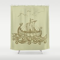 rowing Shower Curtains featuring Viking ship by mangulica illustrations