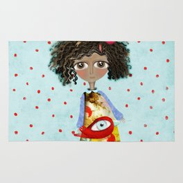 Red Bird Pet Doll Grungy Polka Dots Rug
