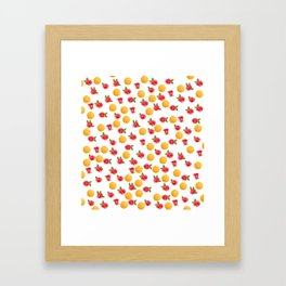 Grace - Watercolor Red Roses and Golden Polka Dots Pattern Framed Art Print