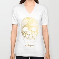 gold foil V-neck T-shirts featuring Gold Foil Patterned Skull by RsDesigns