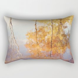 Autumn Trees Reflection Photography, Fall Tree Nature Orange Gold Yellow Purple, Water Reflections Rectangular Pillow
