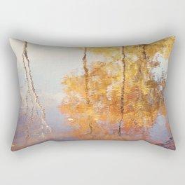Autumn Trees Reflection Photography, Fall Tree Nature Orange Gold Yellow Purple, Water Reflections Rectangular Pillow
