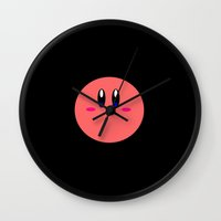 kirby Wall Clocks featuring Kirby Face by Veronica Grande