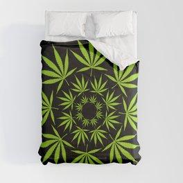Cannabis Leaf Circle Modern Graphic Illustration Art Comforters