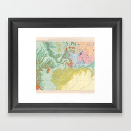 Southwest Map - Pastel Framed Art Print