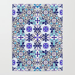 Turquoise Moroccan tile seamless pattern Poster