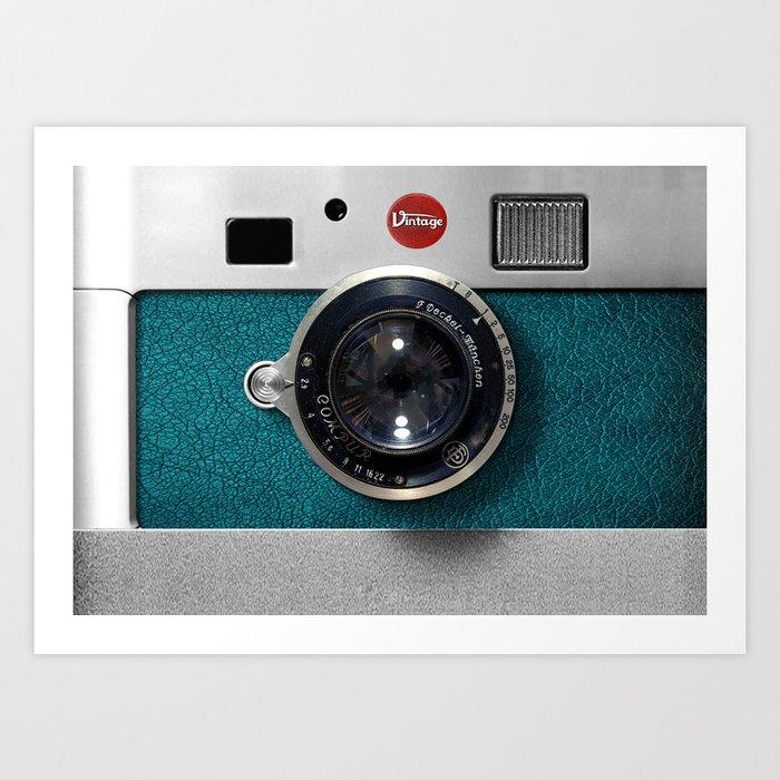 Blue Teal retro vintage camera with germany lens Kunstdrucke