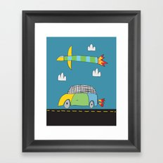 Car Plane Clouds Framed Art Print