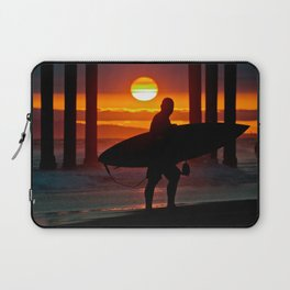 Huntington Beach Pier / Surfer Sunset Laptop Sleeve