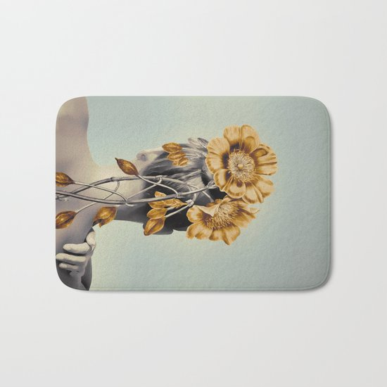 WOMAN WITH FLOWERS 2 Bath Mat