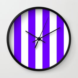 Vertical Stripes - White and Indigo Violet Wall Clock