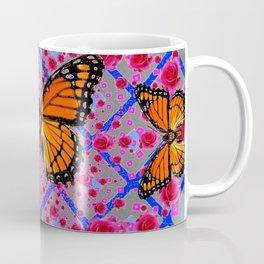 GOLDEN ORANGE MONARCH BUTTERFLIES ROSE PATTERN ART Coffee Mug