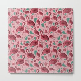 Flamazing day flamingos pattern pink background Metal Print