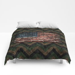 Green and Brown Military Digital Camo Pattern with American Flag Comforters