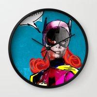 batgirl Wall Clocks featuring Batgirl by Ed Pires
