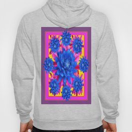 Decorative Puce Fuchsia Color Blue Tropical Flowers Pattern Hoody