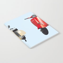 Three Vespa scooters in the colors of the Italian flag Notebook