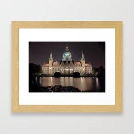 Hanover New City Hall at Night Framed Art Print