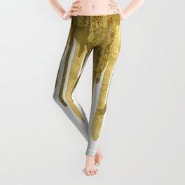 Gold paint drips Leggings