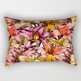 Daylily Drama - a floral illustration pattern Rectangular Pillow