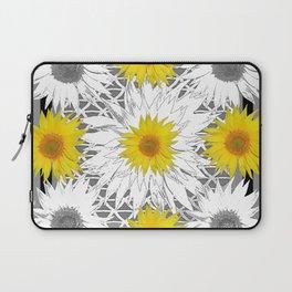 Decorative B&W Yellow-White Sunflowers Laptop Sleeve