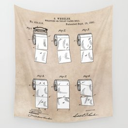 patent - Wheeler - Wrapping or Toilet paper roll - 1891 Wall Tapestry