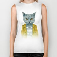 kitty Biker Tanks featuring Kitty by Leslie Evans