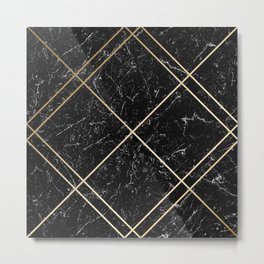 Gold & Black Marble 02 Metal Print